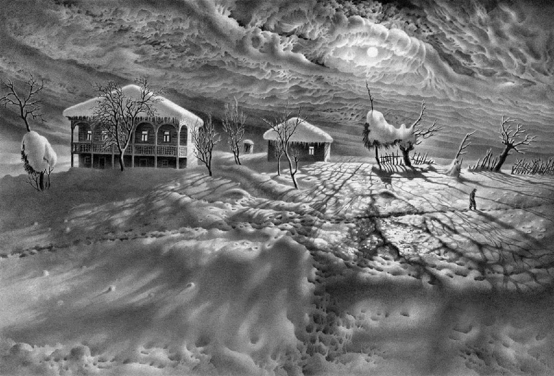 Зима рисунки простым карандашом 5