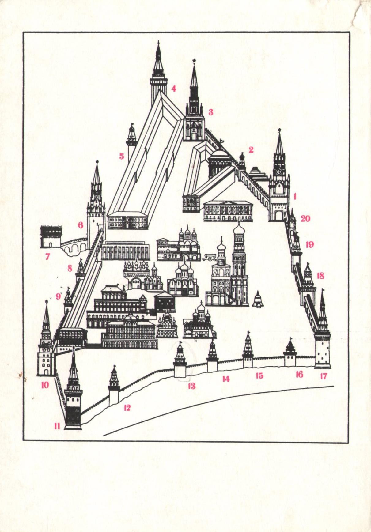 Карта схема московского кремля башни