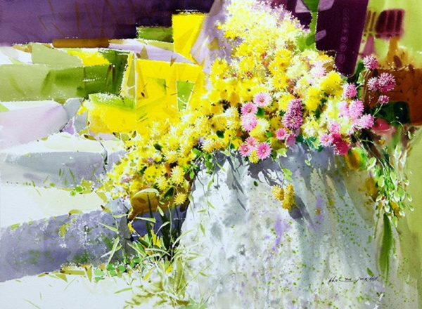 Шикарная акварель Shin Jong Sik (52 фото)